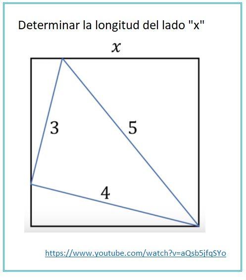 Triángulo inscrito en un cuadrado