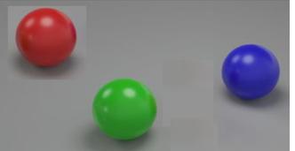 Tres bolas en el espacio
