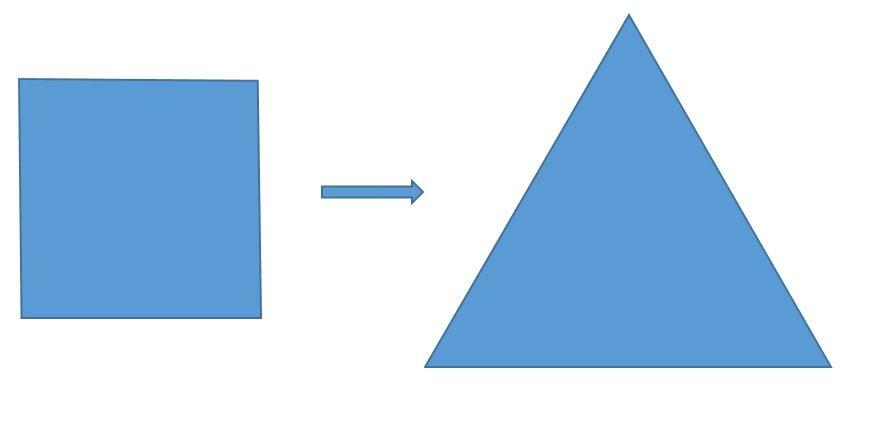 De cuadrado a triángulo equilátero